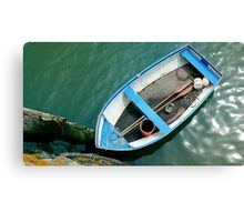 Small boat with paddles Canvas Print