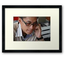young executive make a call Framed Print