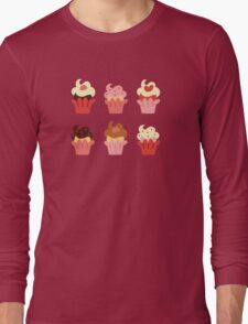Cupcakes-Red Long Sleeve T-Shirt