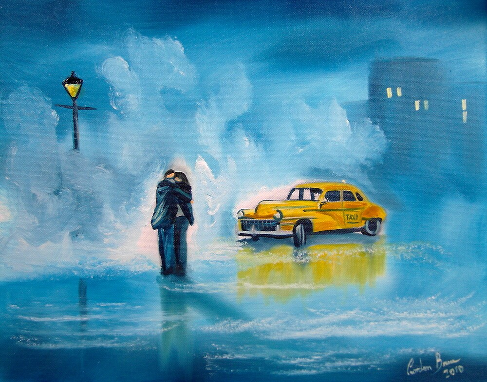 The reunion RAINY DAY COUPLE YELLOW TAXI CAB  by gordonbruce