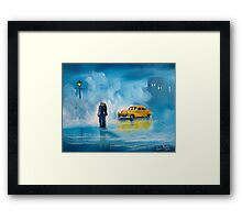 The reunion RAINY DAY COUPLE YELLOW TAXI CAB  Framed Print