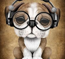 English Bulldog Puppy Dj Wearing Headphones and Glasses by Jeff Bartels