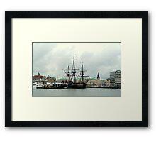 "The City of Gothenburg & East Indiaman ""Götheborg"" Framed Print"