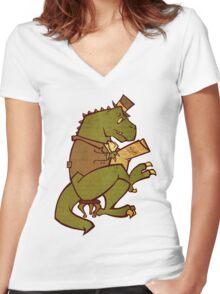 Gentleman T-Rex Women's Fitted V-Neck T-Shirt