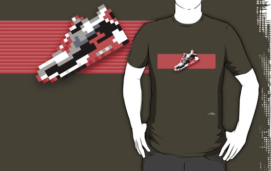 8-bit running shoe T-shirt by 9thDesignRgmt