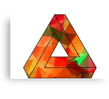 Red Penrose Triangle Polygon Art Canvas Print