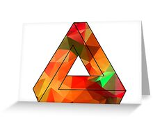 Red Penrose Triangle Polygon Art Greeting Card