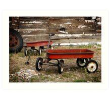 Vintage Red Wagons Art Print