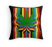 Marijuana Leaf Color Flux Throw Pillow