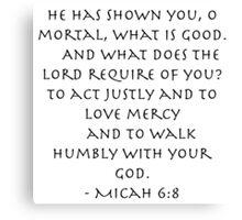 Micah 6:8  Canvas Print