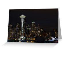 Seattle Skyline After Dark Greeting Card