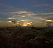 Winter Sunset Barkly Highway Camooweal  by Carmel Williams