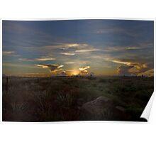 Winter Sunset Barkly Highway Camooweal  Poster