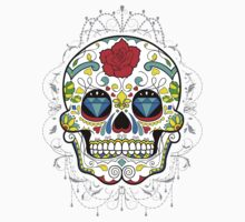 Classic Sugar Skull surrounded by lace Kids Clothes