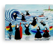 Surfing Sisters Canvas Print