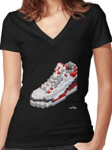 3D 8-bit basketball shoe 3 Women's Fitted V-Neck T-Shirt