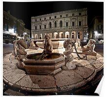 Bergamo: Fountain and Public Library Poster