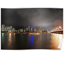 Swing Moorings on Nerang River at Night Poster