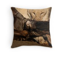 Lion and Wildebeest Tussle Throw Pillow