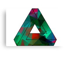 Green Penrose Triangle Polygon Art Canvas Print