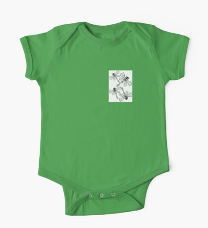 Four Flying Dragonflies in Pen and Ink One Piece - Short Sleeve