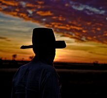Stockman at Sunset - Camooweal Qld Aust. by Carmel Williams
