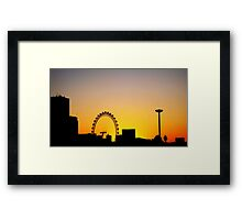 London Eye heavily silhouetted on New Year Day Framed Print
