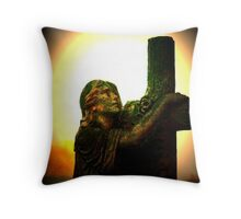 angel and cross Throw Pillow