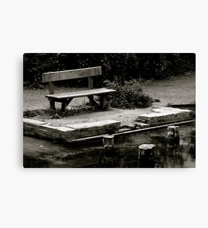 Empty bench at Silent Pool Canvas Print