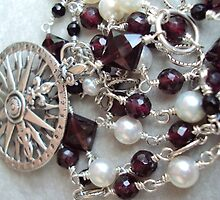Compass Rose Garnet and Pearl Necklace by elementsbyjulie