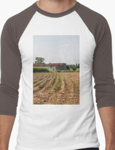 field planted with corn on the cob Men's Baseball ¾ T-Shirt