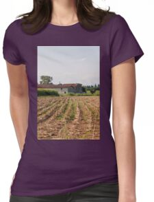 field planted with corn on the cob Womens Fitted T-Shirt