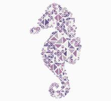 Nautical seahorse lilac lavender grape geometric pattern One Piece - Short Sleeve