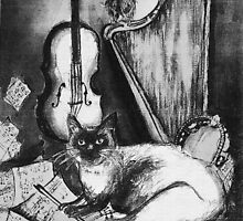 MUSICAL CAT AND OWL  Black and White by BulganLumini