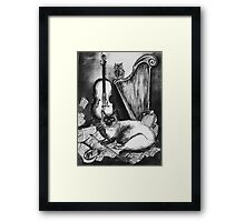 MUSICAL CAT AND OWL  Black and White Framed Print