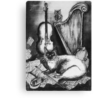 MUSICAL CAT AND OWL  Black and White Canvas Print