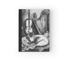 MUSICAL CAT AND OWL  Black and White Hardcover Journal