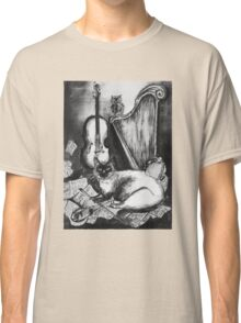 MUSICAL CAT AND OWL  Black and White Classic T-Shirt