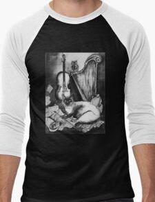 MUSICAL CAT AND OWL  Black and White Men's Baseball ¾ T-Shirt