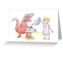 Tea Party with a Velociraptor  Greeting Card