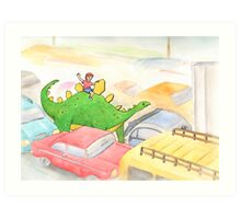 Traffic Jam with a Stegosaurus Art Print