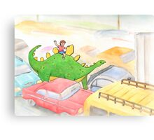 Traffic Jam with a Stegosaurus Canvas Print