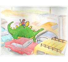 Traffic Jam with a Stegosaurus Poster