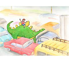 Traffic Jam with a Stegosaurus Photographic Print