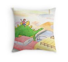 Traffic Jam with a Stegosaurus Throw Pillow