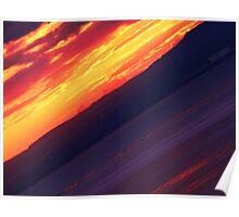 Angled Sun set over the sea Poster
