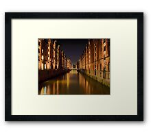 Speicherstadt in Hamburg Framed Print