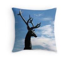 Male deer statue in Farmington Throw Pillow