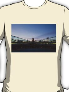 Even the Clouds Aligned with St Paul's Cathedral and the Millennium Bridge in London, UK T-Shirt