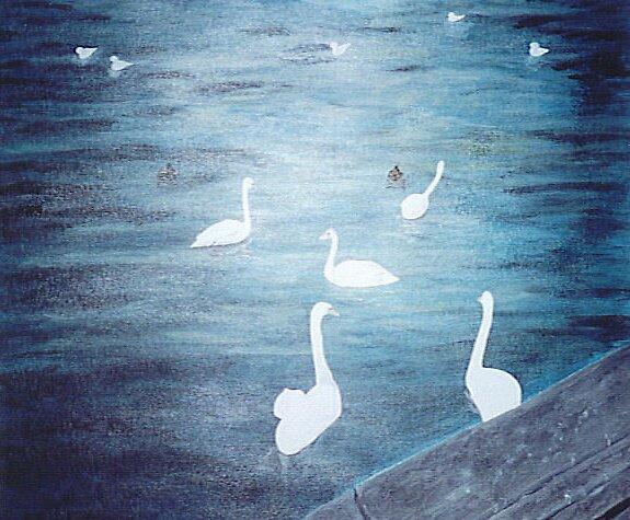 February Lake Zurich Switzerland, Acrylic by Christina Glazar